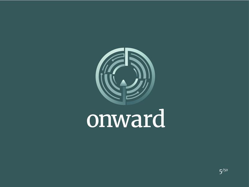 Onward self driving auto car driverless car onward gradient shape elements minimal logo daily logo challenge logo design illustrator branding vector graphic design miami logo 2d