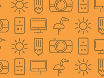 Branding Pattern pattern domino sun imac pencil flamingo icons illustrator vectors miami illustration