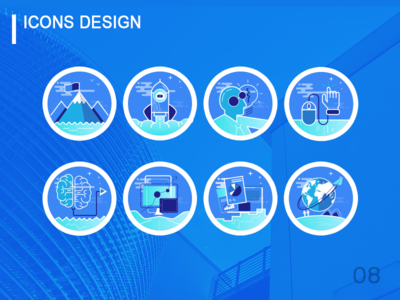 Blue Technology Icons