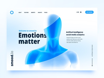 Smood bright key visual landing page mask shape bright blue software mannequin ai ux ui