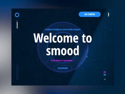 Smood particles landingpage analytics ai software webdesign timelapse webgl animation motion 3d particles ui  ux design ui threejs
