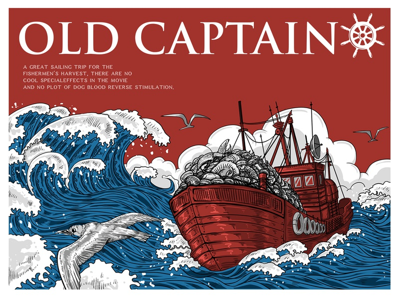 Old captain age logo 设计 ps