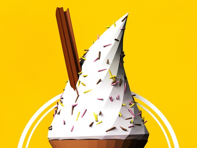 Ice-cream low poly summer yellow c4d cinema 4d poly render ice-cream ice cream 3d cone q