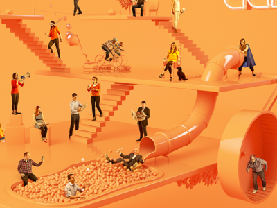 Lane illustration illustration orange cinema 4d c4d