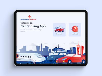 Car Booking App For iPad red illustration dekstop app interaction design ixd ux designer plane angkasa pura airport travel booking booking app car uiux ui ux design ui osx ios apple ipad2