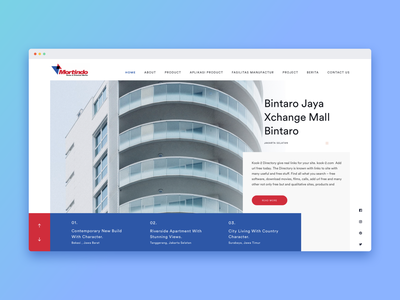 Mortindo Website Design red typography branding design blue vector building company building mobile illustration ux dribbble interactiondesign website webdesign uxdesign uidesign ixd ui mortindo