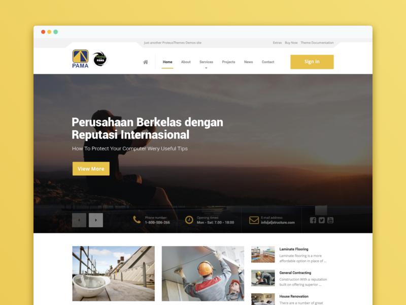 Pama Persada Website Design government corporate elegant yellow dribbble ui construction web illustration interactiondesign website webdesign uxdesign uidesign ixd
