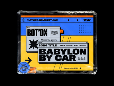 Bot'Ox – Babylon By Car design plastic bag motion design vintage titling gothic branding 70s abstract brutalism spotify playlist bashbashwaves rhox