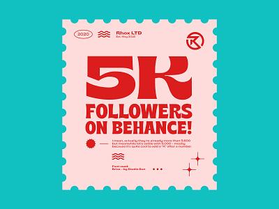 5k thanks! turqoise stamps followers 5k 5000 behance 2020 stamp design brice stamp vintage rhox