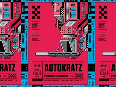 Autokratz – Pardon Garcon 2007 illustration sphere spotify maison kitsuné mechanical electronic techno industrial clockwork circuitry motion design vintage typography playlist poster bashbashwaves 70s rhox autokratz