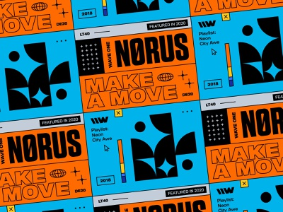Nørus – Make a Move branding geometry orange poster design poster series spotify music lo-fi house house poster typography playlist vintage bashbashwaves brutalist design brutalism 70s rhox stacked norus