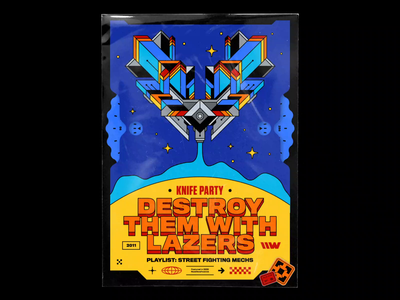Knife Party – Destroy Them With Lazers spotify music hovering cavalcanti smoke stars spaceship illustration bashbashwaves abstract symmetry 70s vintage rhox motion design poster electro house playlist dubstep knife party