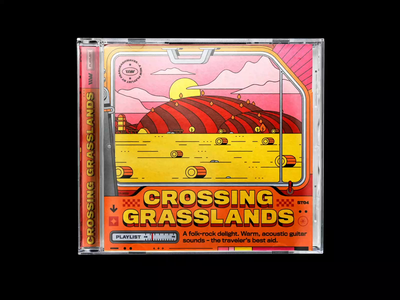 \\WAVES – new playlist: CROSSING GRASSLANDS spotify typography motion design playlist vintage tractor clouds hills windmill illustration bashbashwaves rhox cover artwork cd cover looping animation looping gif countryside farm field
