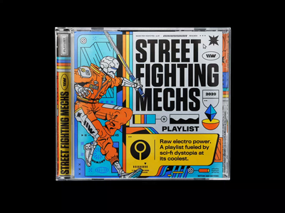 \\WAVES playlist – STREET FIGHTING MECHS artwork 70s typography branding marathon scifi mech mecha concept art gradoner cover artwork motion design playlist bashbashwaves rhox cyberpunk 2077 cyberpunk