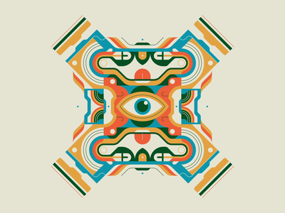 Open Eye Signal centered looping loop palette typetopia motion graphics eye abstract vintage symmetry illustration design motion design 70s rhox