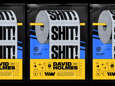 David Holmes – Shit! Shit! Shit! psychedelic abstract typography music warner bros warner records david holmes shit toilet paper toilet roll poster spotify playlist motion design 70s bashbashwaves vintage rhox