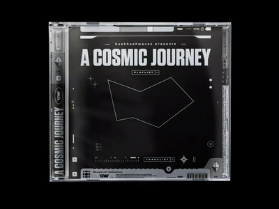 New Playlist: A COSMIC JOURNEY ui designers cosmic monochromatic bw brutalism cd artwork cd case plastic case jewelcase music artwork branding vintage spotify motion design playlist bashbashwaves 70s rhox