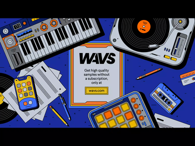WAVS.COM – loop library mouse button advertisting cassette pencil pen synthetiser synth vinyl player vinyl smartphone musicians musician producer launchpad keyboard motion design illustration bashbashwaves rhox
