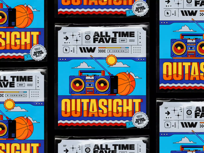 Outasight – All Time Fave waves cassette player cassette brutaslim animated artwork spotify design vintage radio plastic wrap clouds basketball blaster stereo playlist illustration motion design typography rhox bashbashwaves