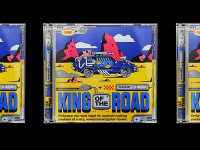 Playlist: KING OF THE ROAD ⚙️ motion graphics animation typography spotify radio motion design illustration vintage 70s playlist engine desert car kenshiro bashbashwaves rhox fury road mad max fu manchu sailor danny