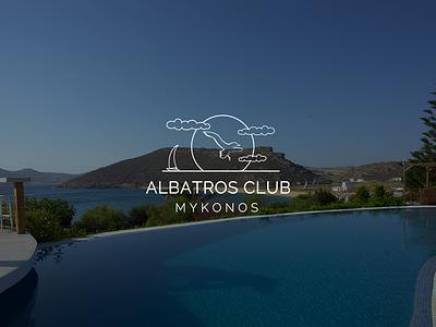 Albatros Club Mykonos vector design website minimal ux ui web illustration logo branding