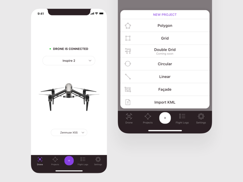 3D Flight Planner Mission Types drone connection flight plan modes project onboarding flight mapping iot mobile ui app mobile survey photogrammetric flight planner drone professional surveying drone surveying