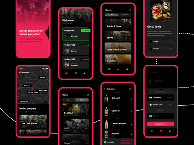 Ordering Flows dark ui payment drinks menu party management ordering drinks club restaurant bar clients hospitality