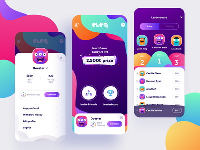 Trivia Game App playful profile prize games leaderboard live colors monsters mobile app game trivia