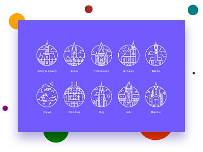City Icons discount romania iasi oradea brasov timisoara sibiu cluj line city icons