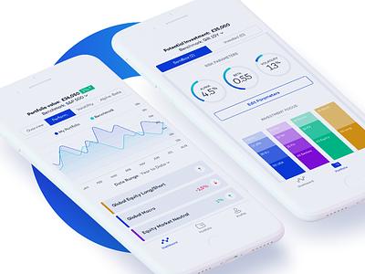 Wealth management tool blue minimal graphs strategy smart investors investmente management