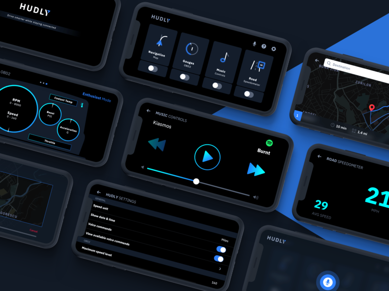 Car Head-up Display UI safety navigation head-up gauges driving display dashboard ui colors car dashboard car