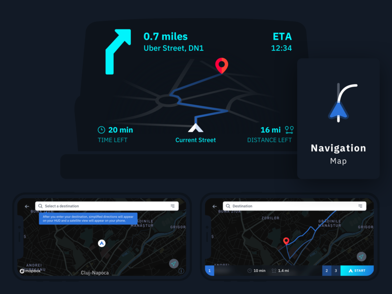 Car Navigation Head-up Display & App UI safety navigation head-up gauges driving display dashboard ui colors car app car dashboard