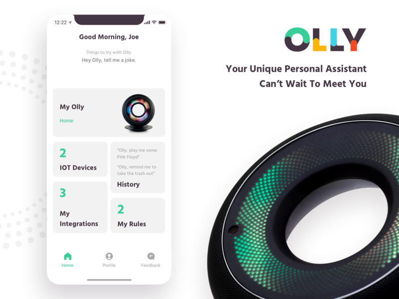 Olly - The world's first robot with personality personal assistant robotics clean ai iot integrations dashboard personality robot olly