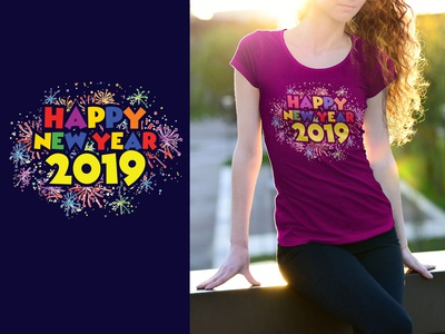 HAPPY NEW YEAR 2019 T-Shirt Design.