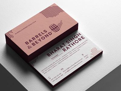 B&B Cards print business card wine whiskey stain spirit sommelier shadow pink logo dotted dot cork burgundy bottle barrel academy
