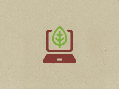 EduTech logo screen green display laptop tech eco leaf tree brown earth symbol icon nature education recycling