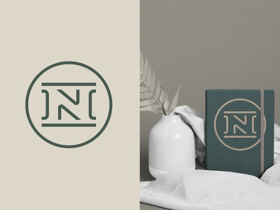 Project N circular notebook beige green monoline negative monogram seal initials logo