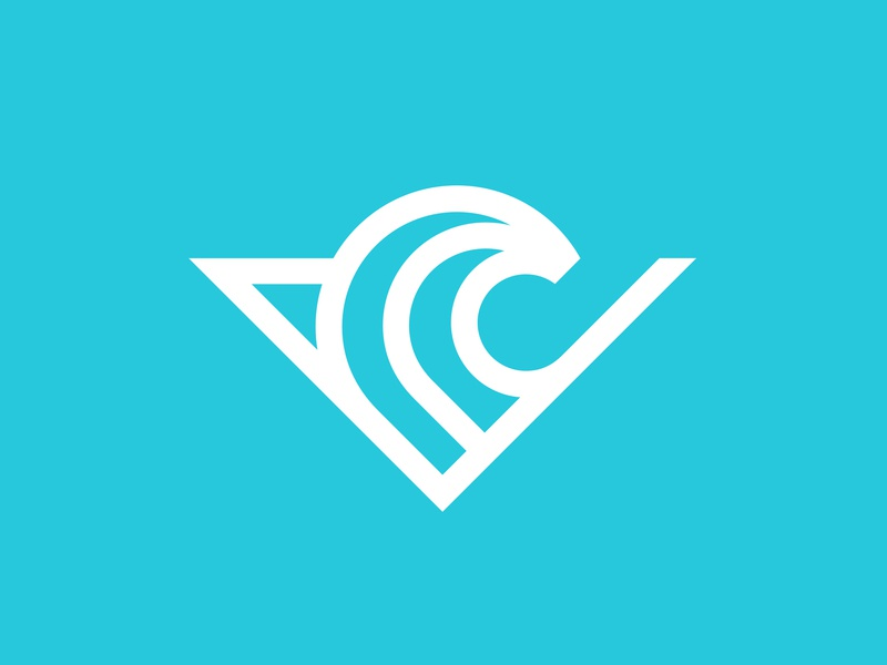 SV incubator hub innovation change blue sea it current initials venture board surf wave logo