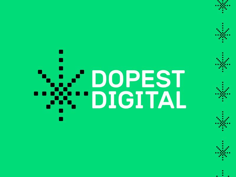 Dopest Digital dope agency web green point pixel digital cannabis cbd weed marijuana leaf logo