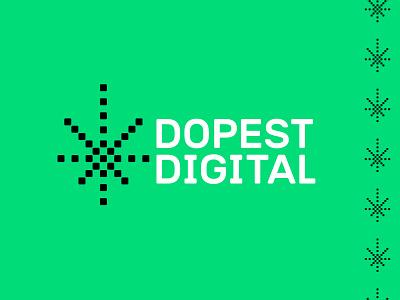Dopest Digital hemp dope agency web green point pixel digital cannabis cbd weed marijuana leaf logo
