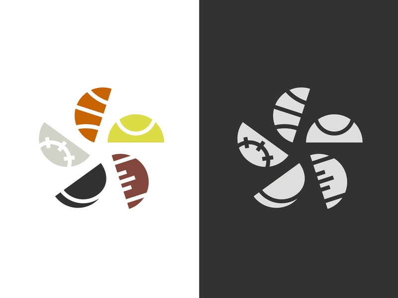 Sportstar colorful ball tennis hockey football baseball basketball sports star symbol icons icon logo