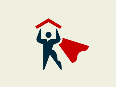Home Hero health sports building life celebration lift red cape negative roof home house protection strong body superhero hero human logo