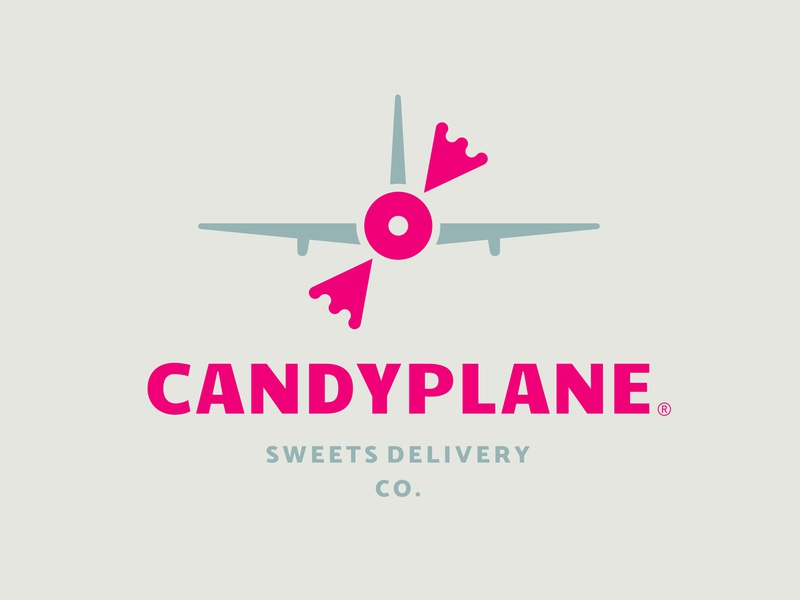 Candyplane wrap blade fun toy colorful youth children kids fly fast air company delivery sweets sweet airplane plane candy logo