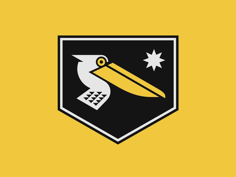 Pelicanos navigation ocean sea beak yellow star pelican bird animal emblem shield logo