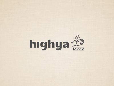 Highya logo hand board chop karate line monoline gray social network online review speed