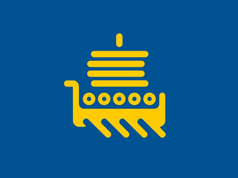Swedish Apps experience yellow blue sea wave national sail ship viking logo symbol icon app sweden