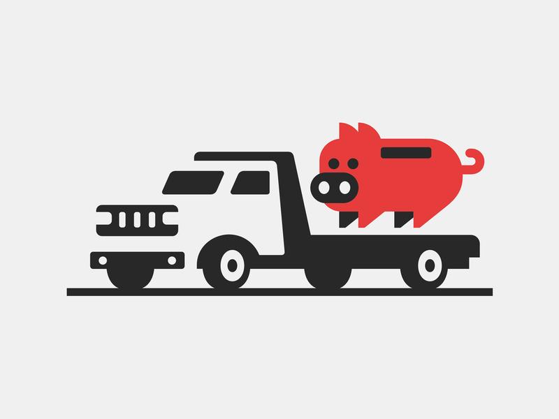 Piggy Tow money saving bank piggy pig animal transportation tow truck program insurance auto logo
