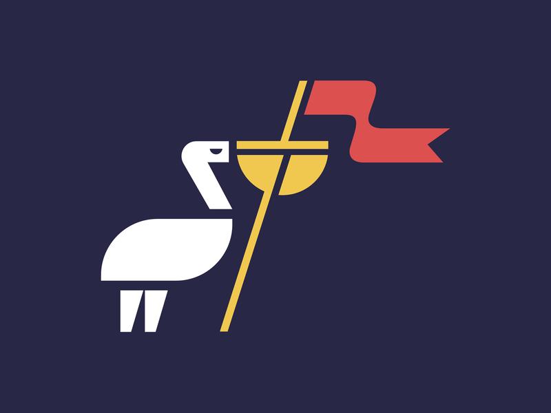 Pelicanation ocean sea beak nation flag pelican bird logo animal