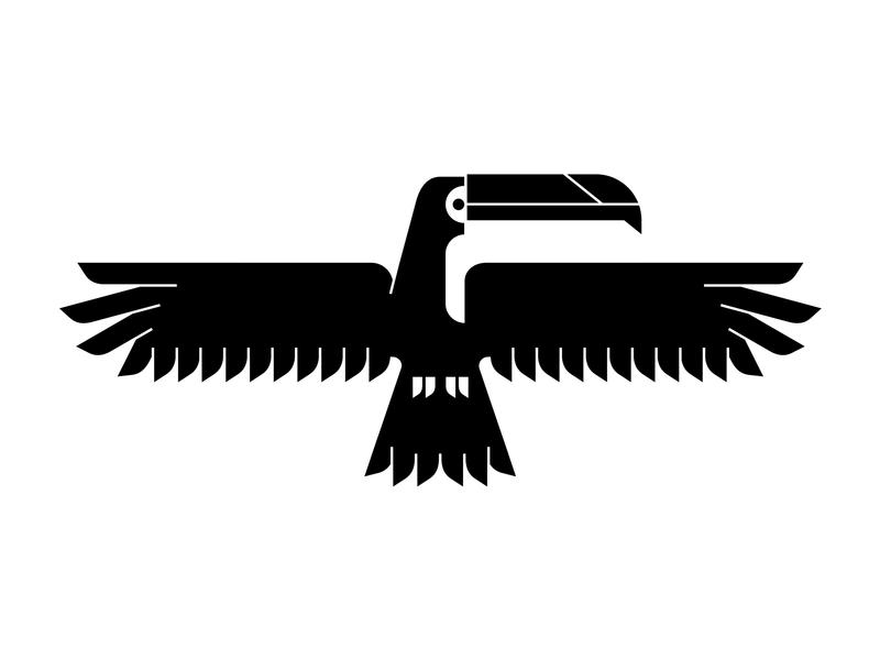 Toucan Totem black wall mural wings logo totem toucan bird animal