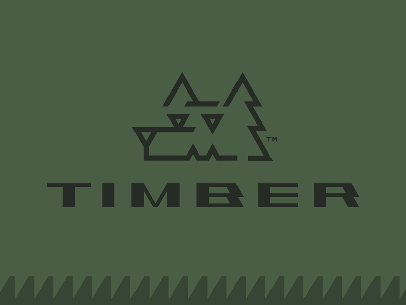 Timber Tools custom typography logotype monoline tree green outdoor equipment tool pine timber forest wood wolf animal logo